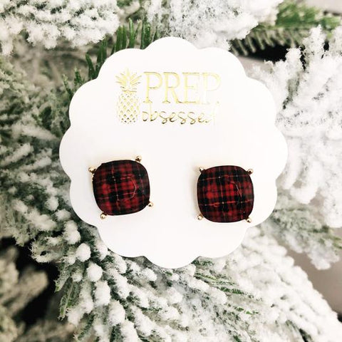 Red Plaid Prep Obsessed Earrings