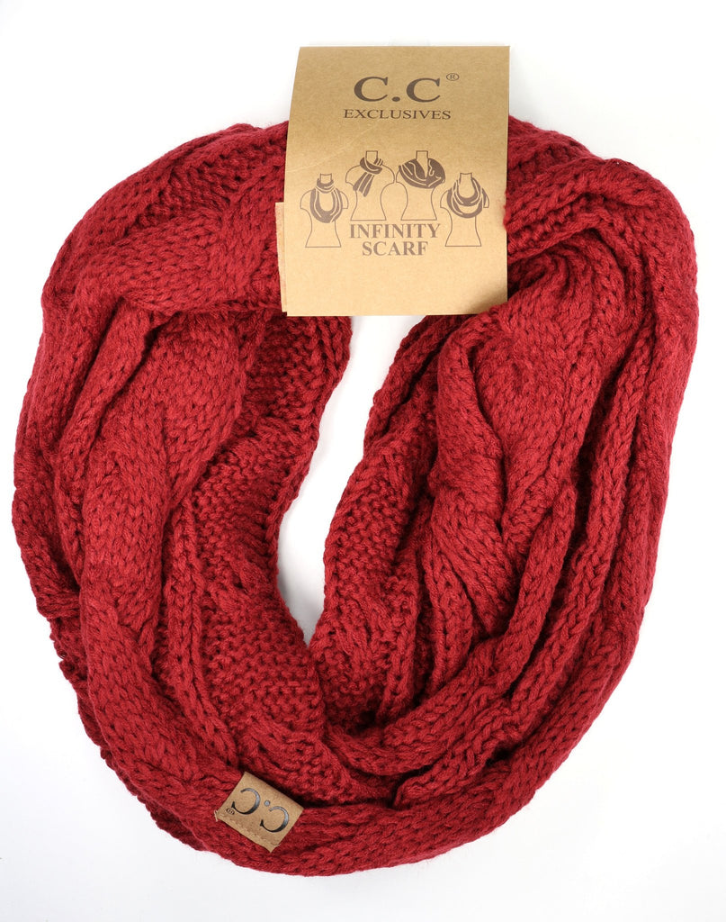 Solid Cable Knit Infinity Scarf - Red