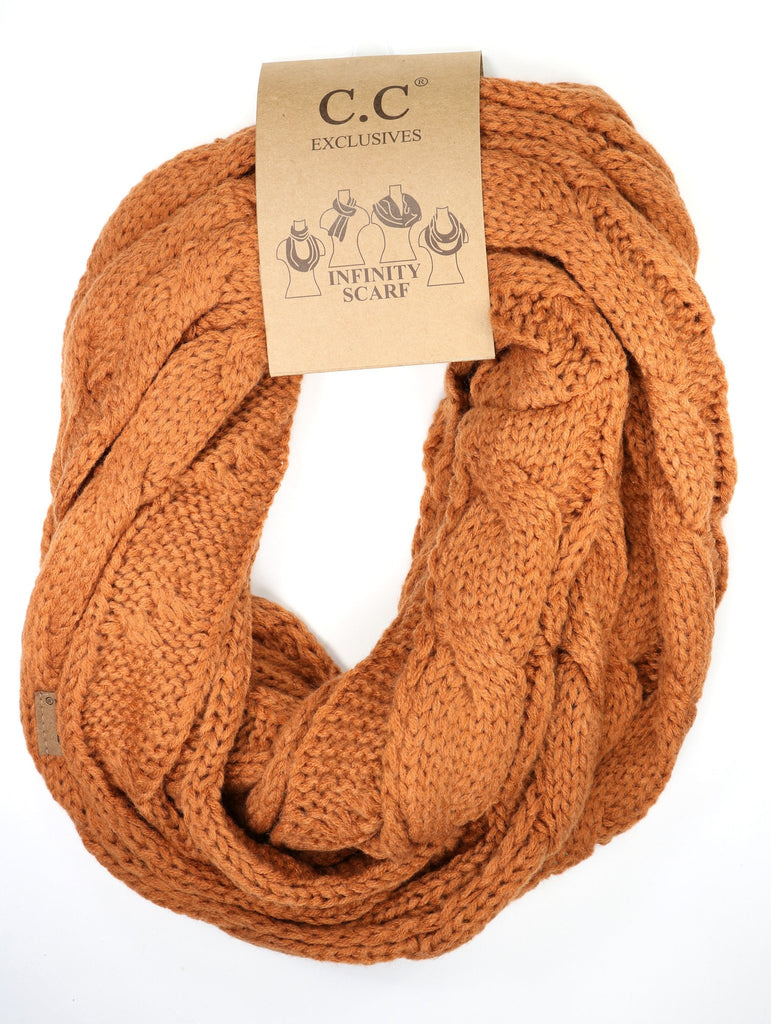 Solid Cable Knit Infinity Scarf - Rust
