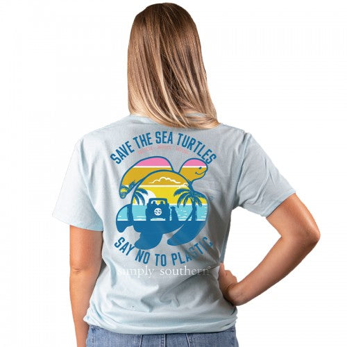 """Say No to Plastic"" Sunset Sea Turtle Short Sleeve Tee"