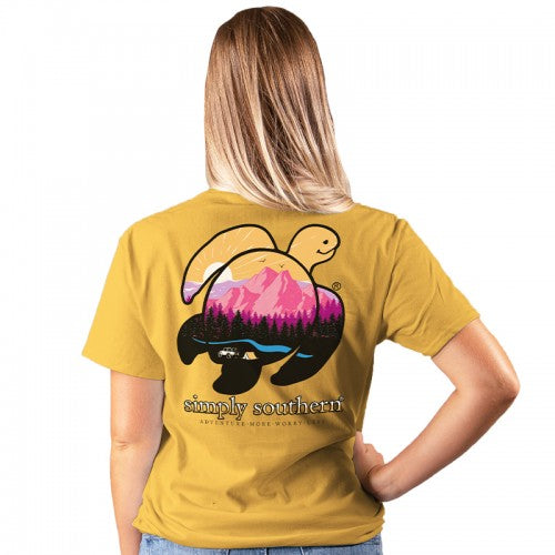 """Adventure More, Worry Less"" Mountain Sea Turtle Short Sleeve Tee"