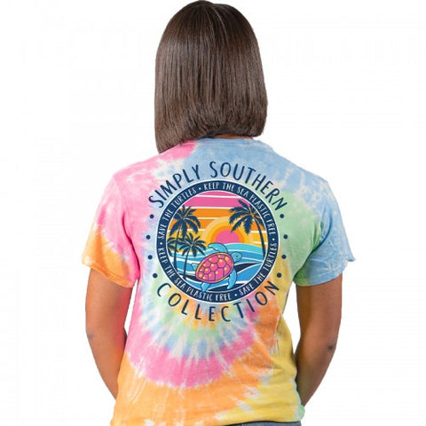 """Keep the Sea Plastic Free"" Sea Turtle Tie Dye Short Sleeve Tee"