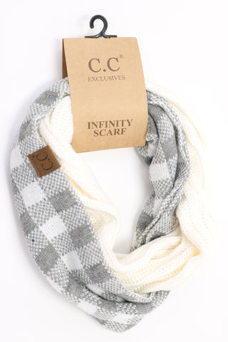 Buffalo Check Knit Scarf - What/Lt.Grey