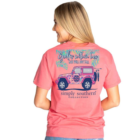 """God is within Her ... She will not Fall"" Jeep Short Sleeve T-shirt"