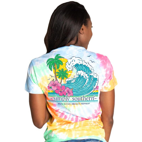 """Sun, Sand, Beach, Repeat"" Tie-Dye Short Sleeve T-shirt"