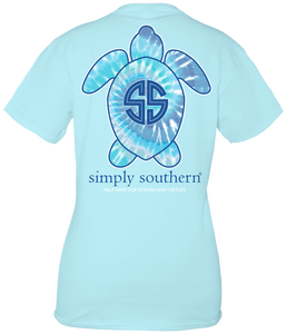 Blue Tie Dye Turtle Short Sleeve T-shirt