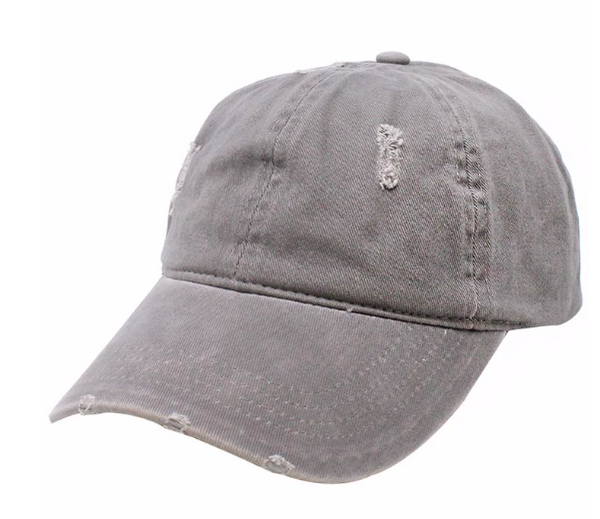 Distressed Cotton Ponytail Baseball Hat - Gray