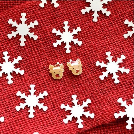 Santa Hat Reindeer Prep Obsessed Earrings