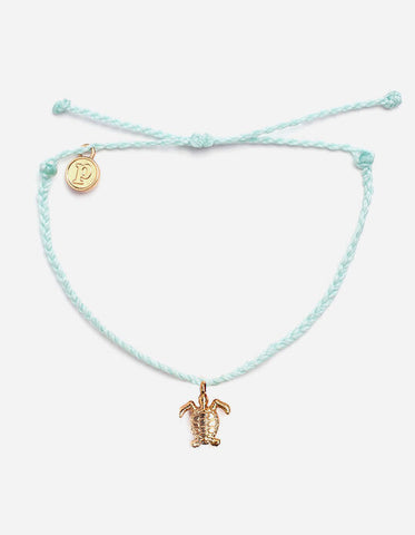Gold Turtle Sea Foam Charm Bracelet