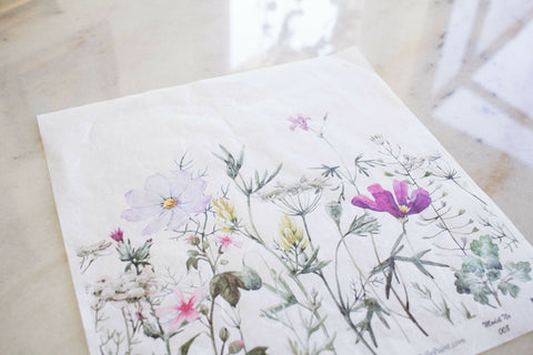 Spring Flowers with Stems Decoupage Rice Paper