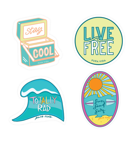Surfer Girl Sticker Pack (4 stickers)