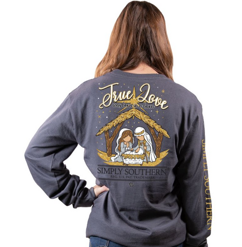 "Simply Southern ""True Love was Born in a Barn"" Long Sleeve Tee"
