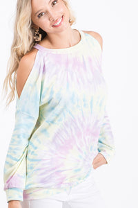 Open Shoulder Tie Dye Top