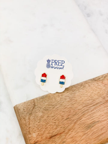 Red White & Blue Popsicle Prep Obsessed Earrings
