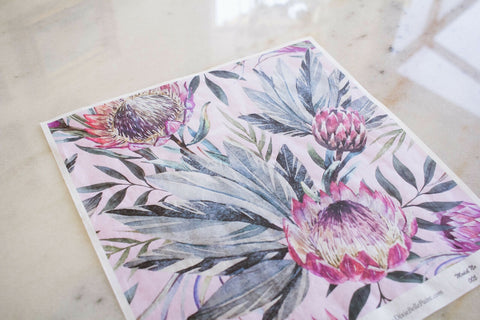 Tropical on Pink Decoupage Rice Paper