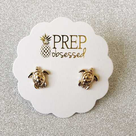 Turtle Stud Earrings - Gold