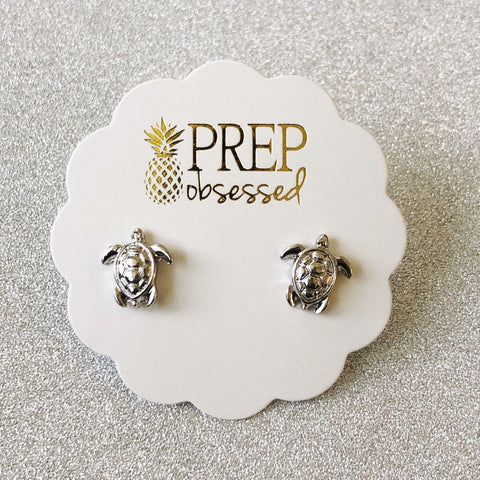 Turtle Stud Earrings - Silver