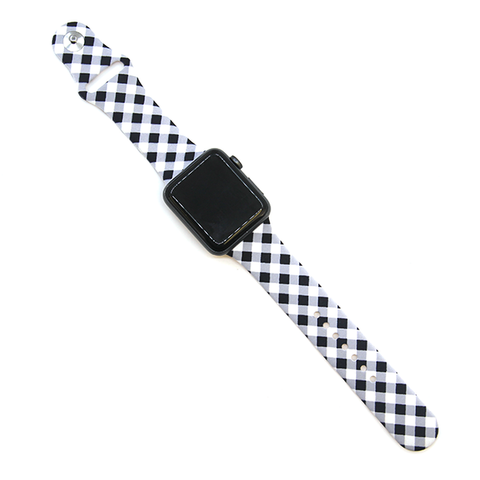 Watch Band - Plaid Black