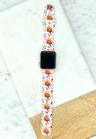 Fall Pumpkin Printed Silicone Watch Band