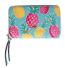 Small Leather Zip Wallet - Pineapple