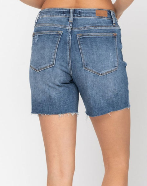 High Waisted, Mid-Thigh Jean Shorts