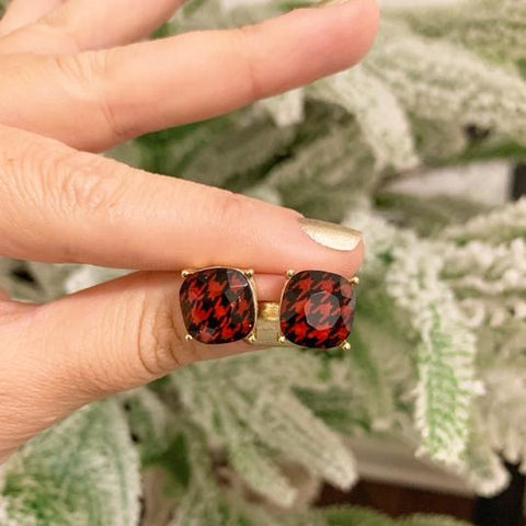 Red Houndstooth Prep Obsessed Earrings