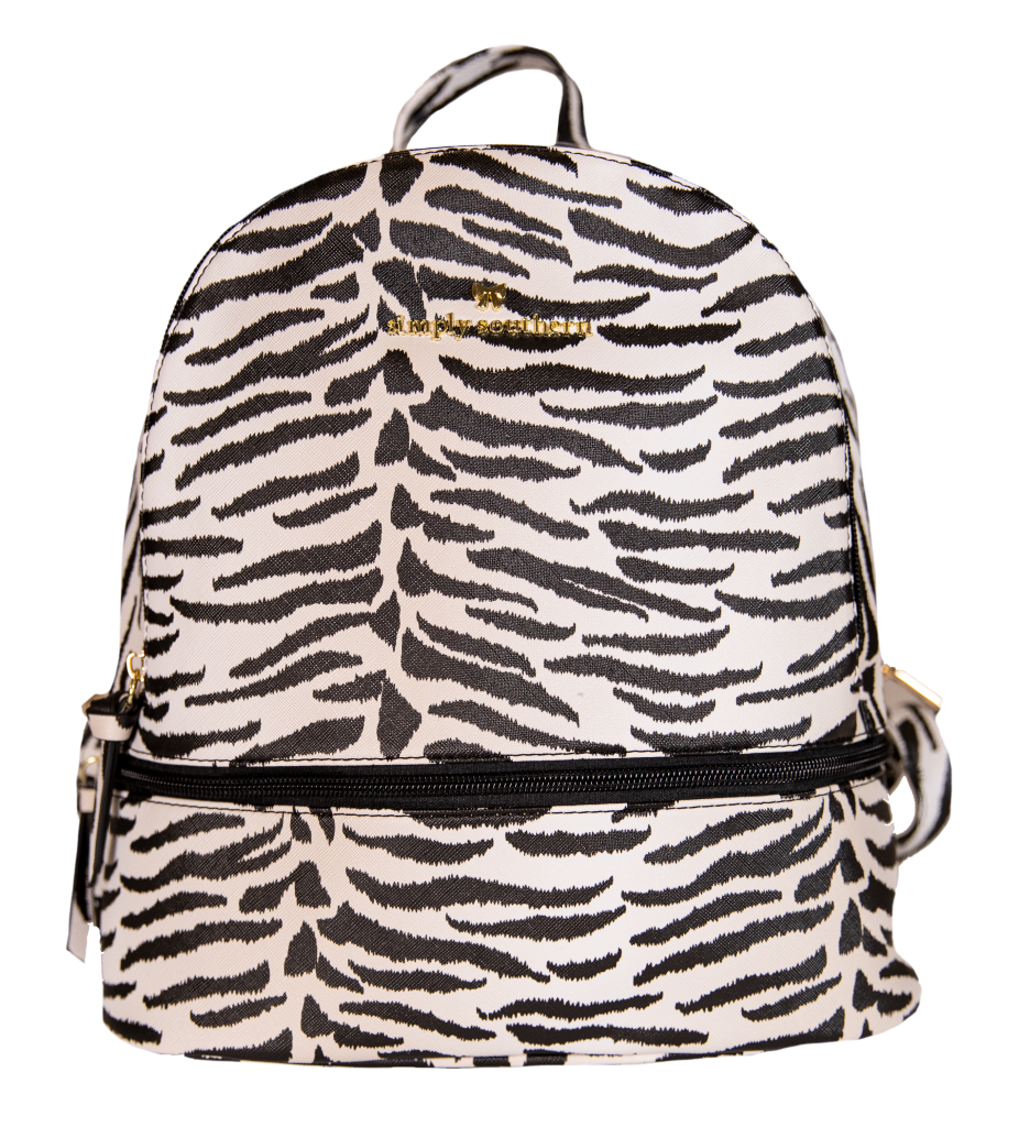 Leather Bookbag - Zebra