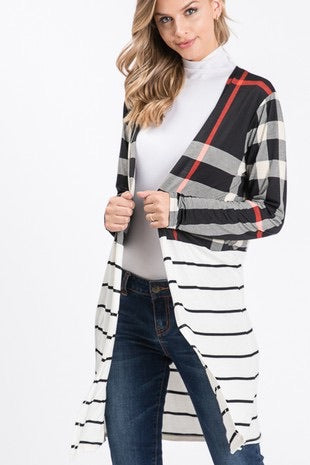 Plaid and Stripe Contrast Print Cardigan