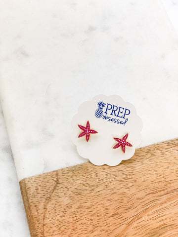Pink Starfish Prep Obsessed Earrings