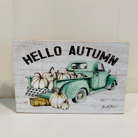 Hello Autumn Block Sign