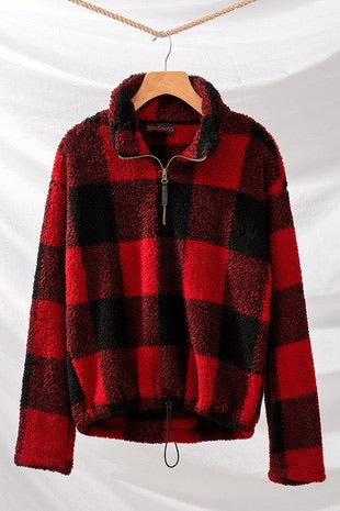 Checkered Fleece Pullover