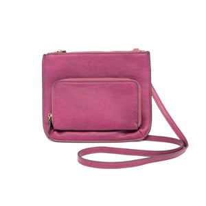 Crossbody Bag with Exterior Pocket - Mulberry