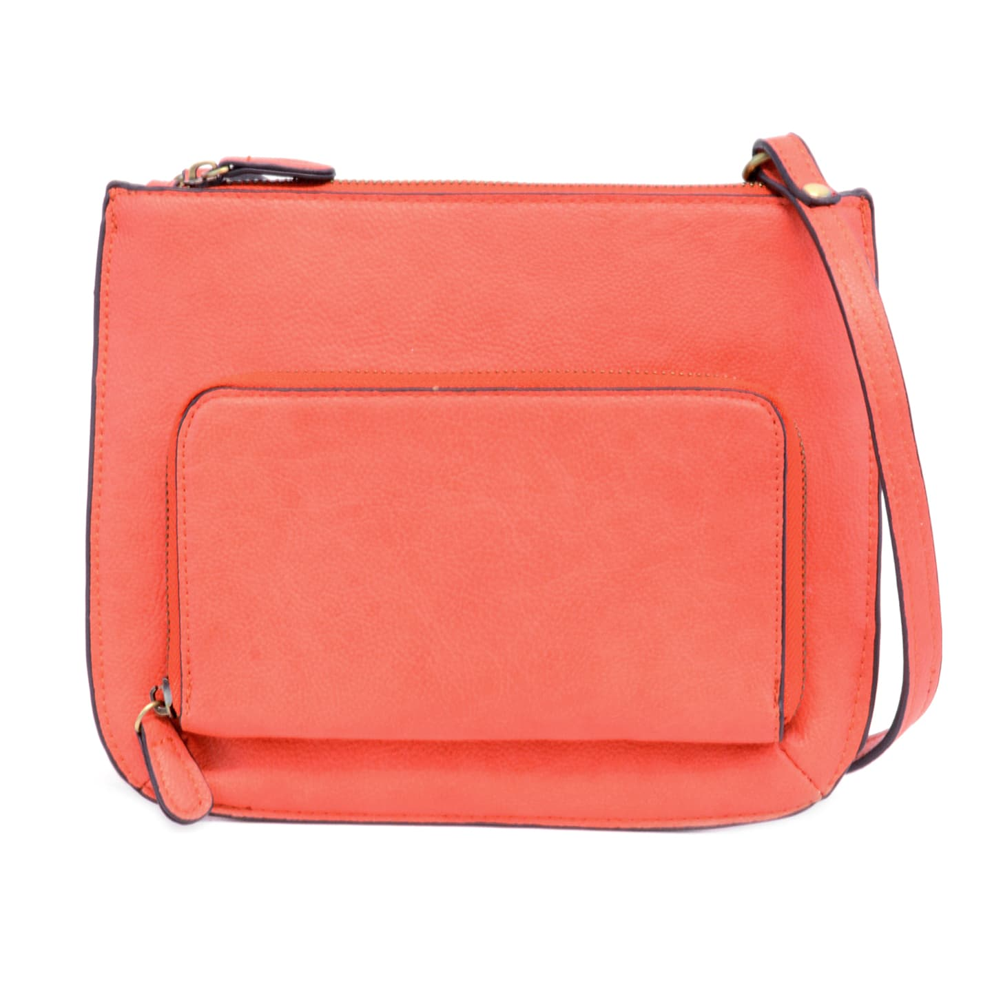 Crossbody Bag with Exterior Pocket - Coral