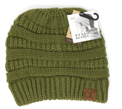 Solid Classic Ponytail CC Beanie - Olive