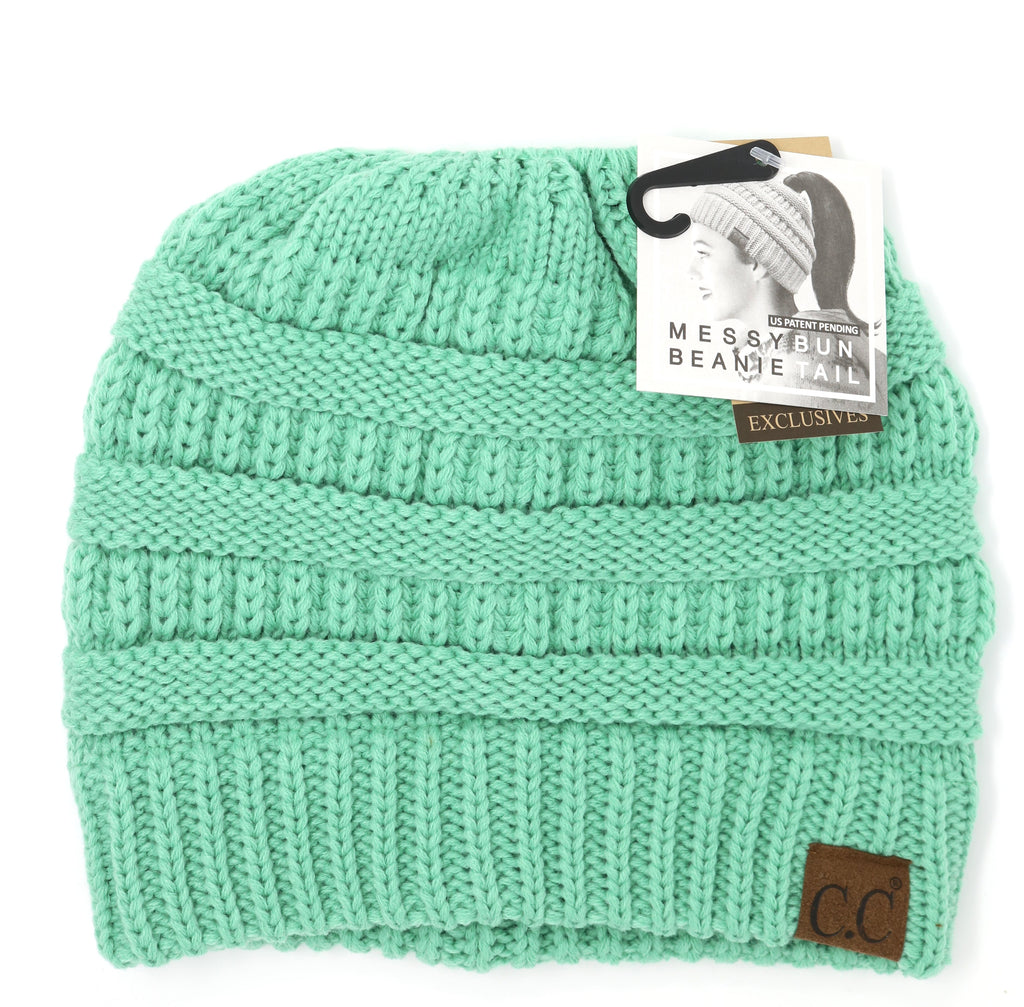 Solid Classic Ponytail CC Beanie - Mint