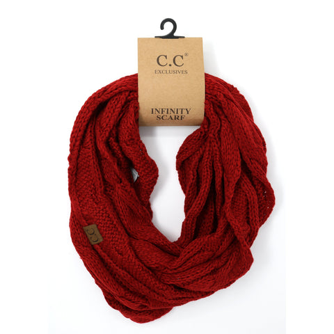 Solid Cable Knit Infinity Scarf - Burgundy