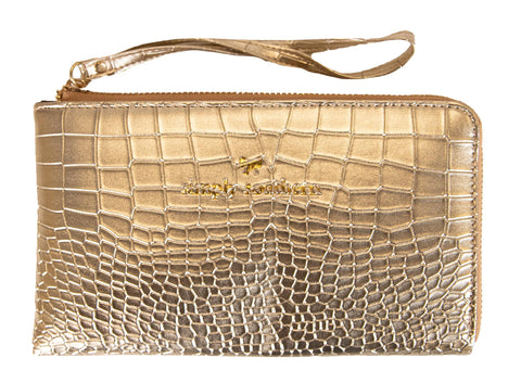Leather Wristlet - Gold