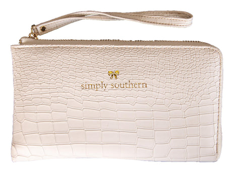 Leather Wristlet - White