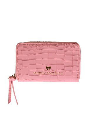 Small Leather Zip Wallet - Pink