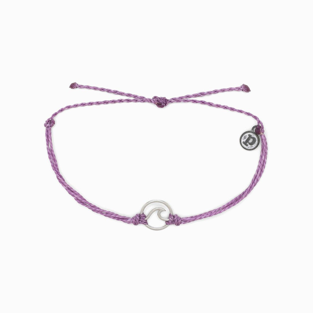 Silver Wave Bracelet - Light Purple