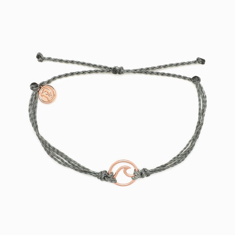 Rose Gold Wave Bracelet - Light Grey