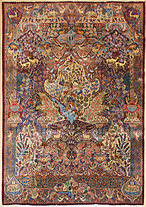 A 9 feet by 12 feet persian wool rug. It is a picorial rug with blues,beiges.greens,reds and browns.