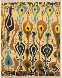 8 feet by 10 feet Yellow Ikat design rug.
