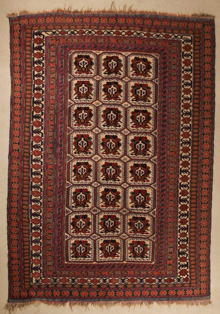 A 6.5 feet by 9.5 feet berjesta wool kilim, the colours used on the rug are red,rust,beige,brown and blue.