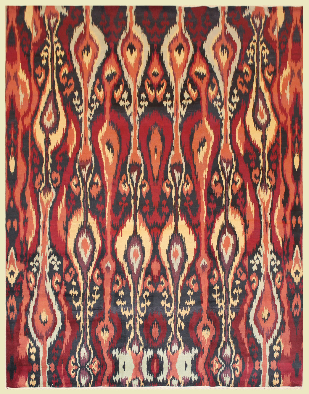 8 feet by 10 feet red Ikat design rug.