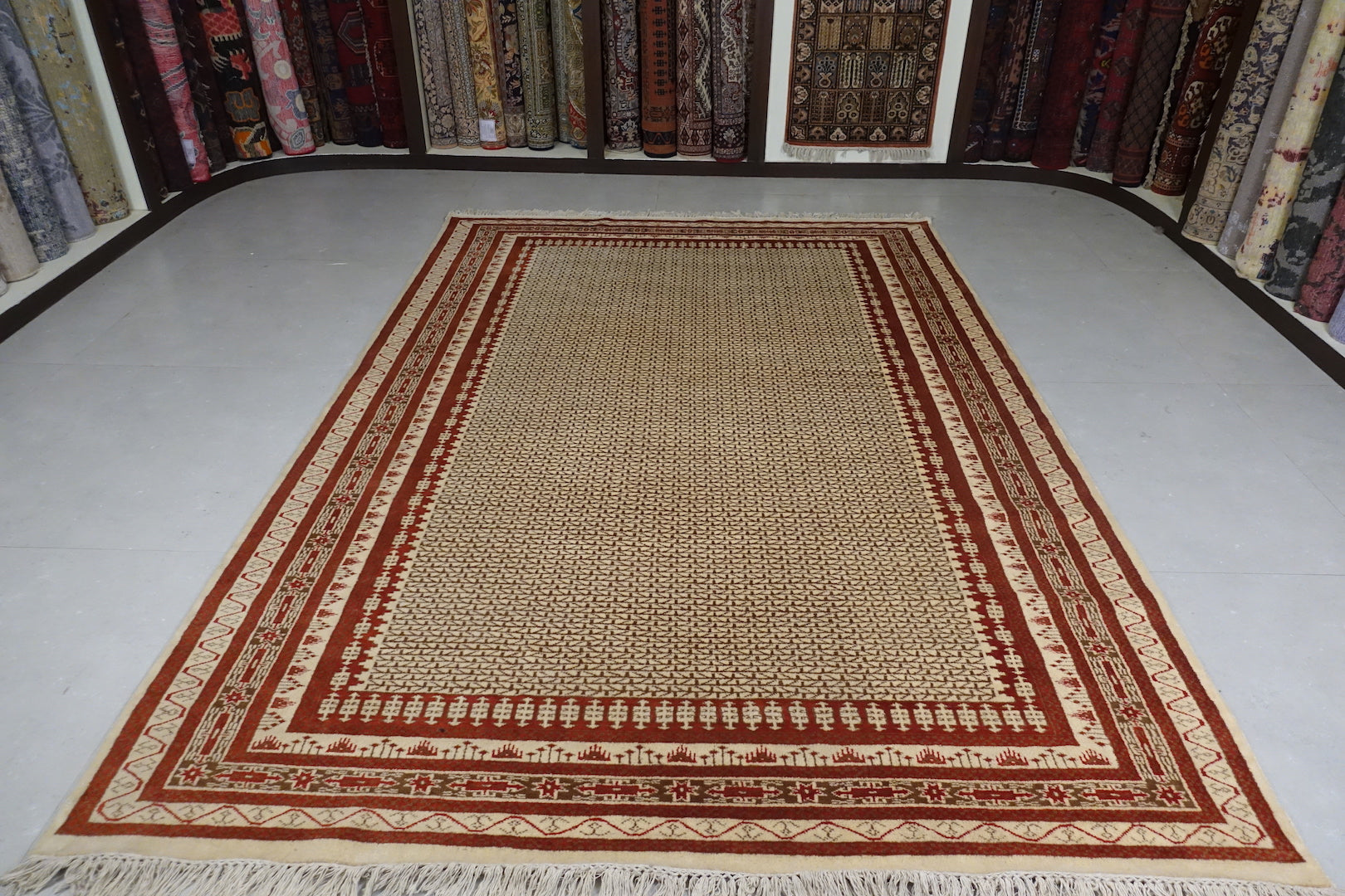 This is an Indian wool rug and measure 6 feet by 9 feet. The colours used on the rug are beige,white,broen ad orange.