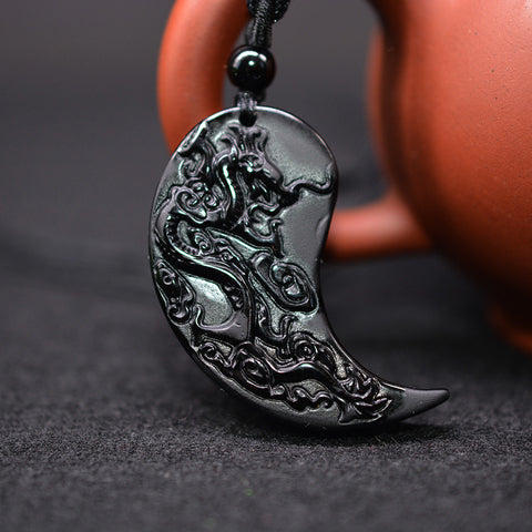 YIN YANG Obsidian Carving Dragon and Phoenix Necklace