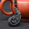 Image of YIN YANG Obsidian Carving Dragon and Phoenix Necklace