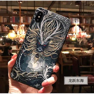3D Dragon Embossed Phone Case For IPhone