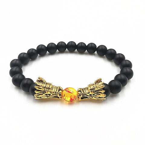 Antique Double Dragon Head with Onyx Black Natural Stone Beads Bracelet